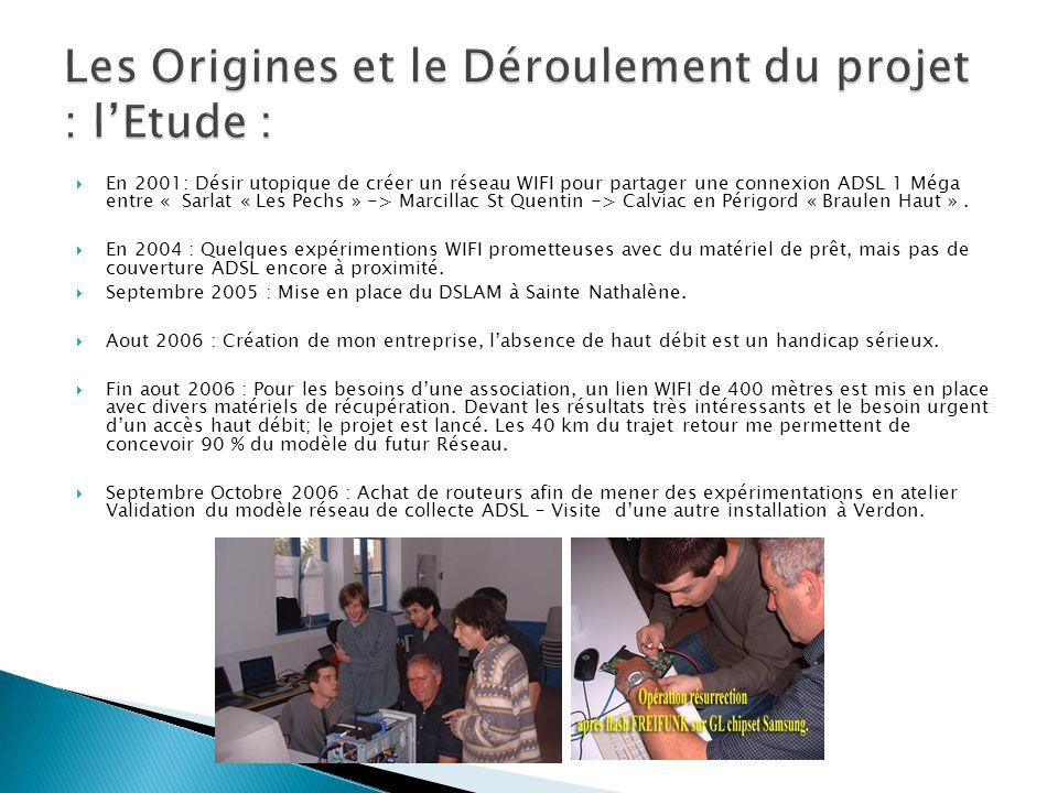  En 2001: Désir utopique de créer un réseau WIFI pour partager une connexion ADSL 1 Méga entre « Sarlat « Les Pechs » -> Marcillac St Quentin -> Calv
