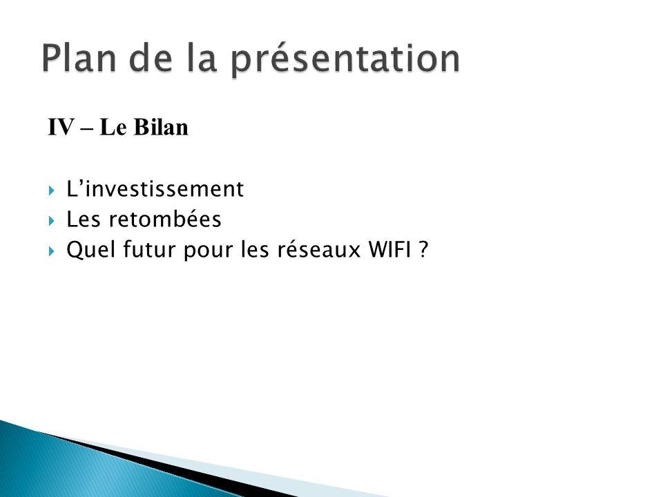 IV – Le Bilan  L'investissement  Les retombées  Quel futur pour les réseaux WIFI ?