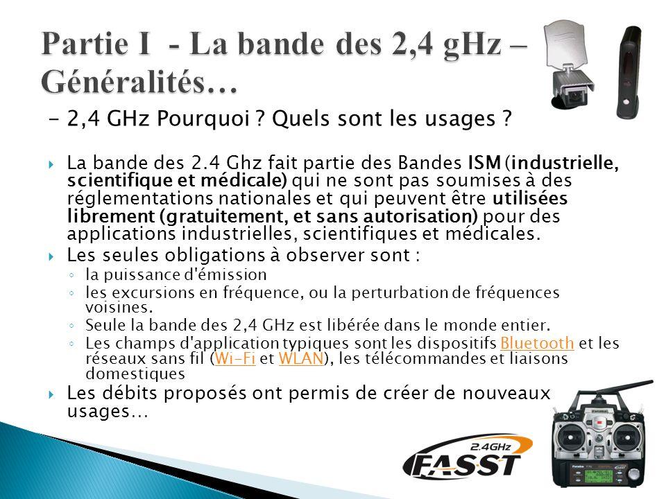 - 2,4 GHz Pourquoi ? Quels sont les usages ?  La bande des 2.4 Ghz fait partie des Bandes ISM (industrielle, scientifique et médicale) qui ne sont pa