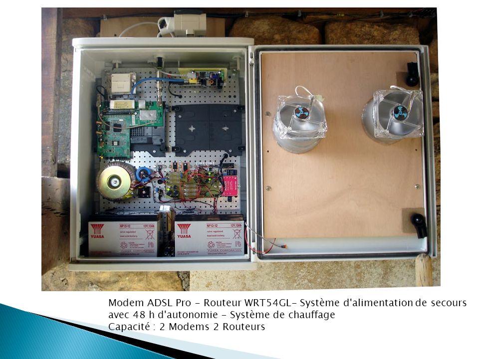 Modem ADSL Pro - Routeur WRT54GL- Système d'alimentation de secours avec 48 h d'autonomie - Système de chauffage Capacité : 2 Modems 2 Routeurs