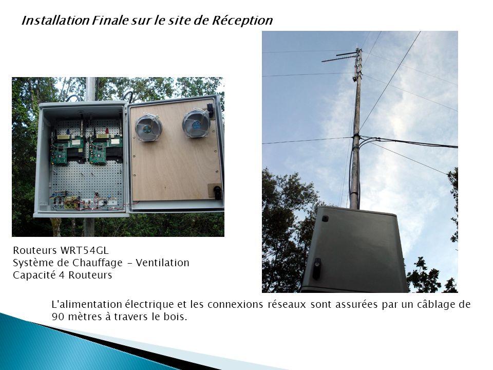 Installation Finale sur le site de Réception L'alimentation électrique et les connexions réseaux sont assurées par un câblage de 90 mètres à travers l