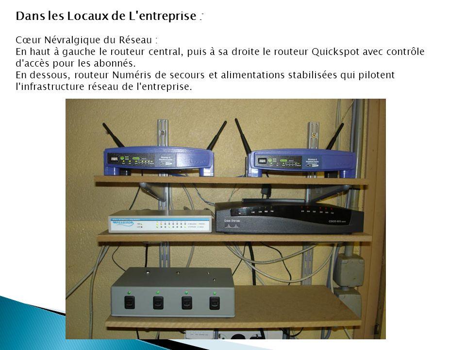 Dans les Locaux de L'entreprise : Cœur Névralgique du Réseau : En haut à gauche le routeur central, puis à sa droite le routeur Quickspot avec contrôl