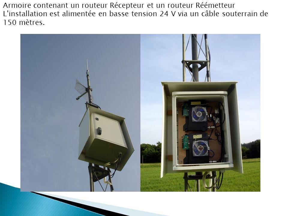 Armoire contenant un routeur Récepteur et un routeur Réémetteur L'installation est alimentée en basse tension 24 V via un câble souterrain de 150 mètr