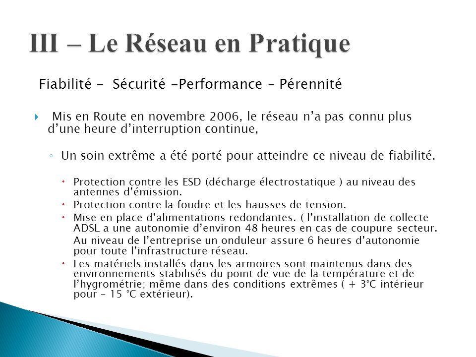 Fiabilité - Sécurité -Performance – Pérennité  Mis en Route en novembre 2006, le réseau n'a pas connu plus d'une heure d'interruption continue, ◦ Un
