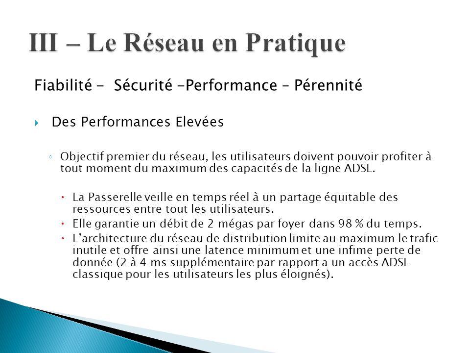 Fiabilité - Sécurité -Performance – Pérennité  Des Performances Elevées ◦ Objectif premier du réseau, les utilisateurs doivent pouvoir profiter à tou