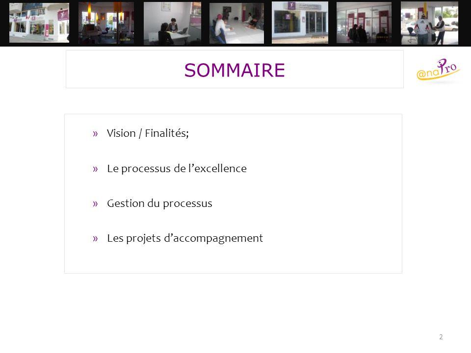 2 »Vision / Finalités; »Le processus de l'excellence »Gestion du processus »Les projets d'accompagnement SOMMAIRE