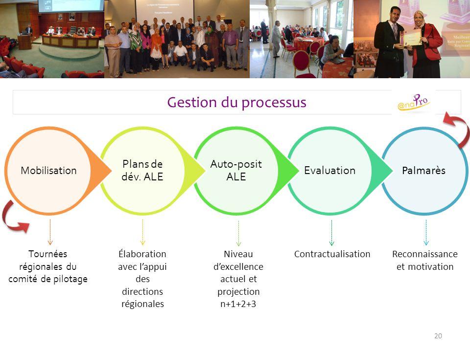 Palmarès Evaluation Auto-posit ALE Plans de dév. ALE Mobilisation 20 Gestion du processus Tournées régionales du comité de pilotage Élaboration avec l