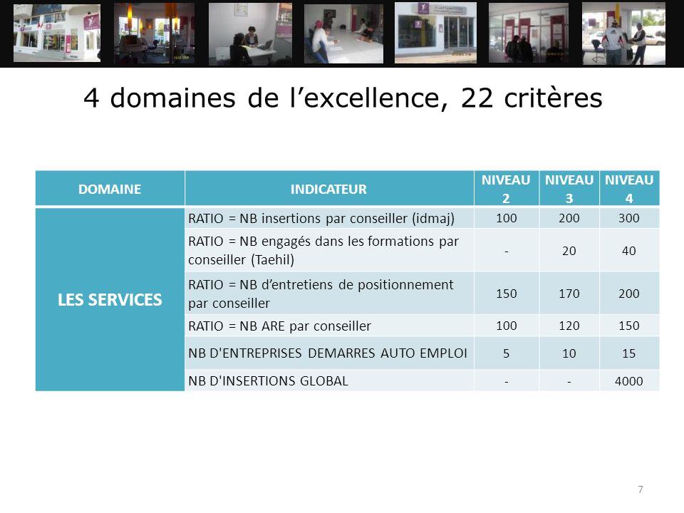 7 4 domaines de l'excellence, 22 critères DOMAINEINDICATEUR NIVEAU 2 NIVEAU 3 NIVEAU 4 LES SERVICES RATIO = NB insertions par conseiller (idmaj) 10020