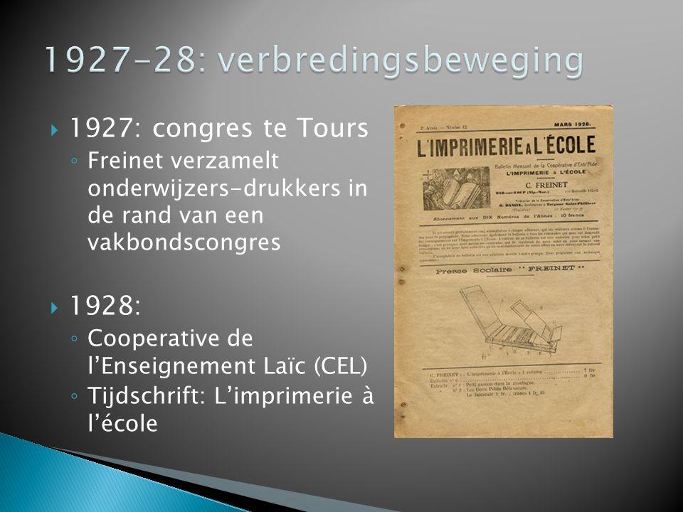  1927: congres te Tours ◦ Freinet verzamelt onderwijzers-drukkers in de rand van een vakbondscongres  1928: ◦ Cooperative de l'Enseignement Laïc (CEL) ◦ Tijdschrift: L'imprimerie à l'école