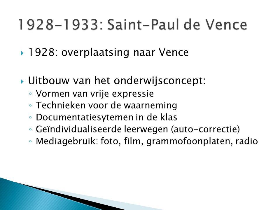  1928: overplaatsing naar Vence  Uitbouw van het onderwijsconcept: ◦ Vormen van vrije expressie ◦ Technieken voor de waarneming ◦ Documentatiesyteme