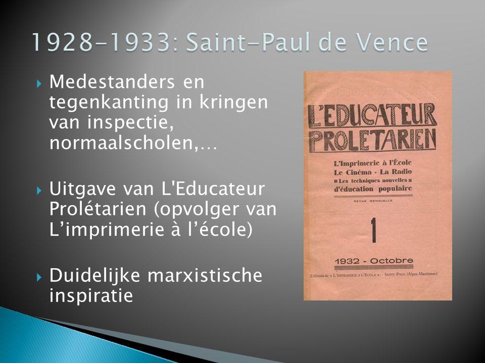  Medestanders en tegenkanting in kringen van inspectie, normaalscholen,…  Uitgave van L'Educateur Prolétarien (opvolger van L'imprimerie à l'école)
