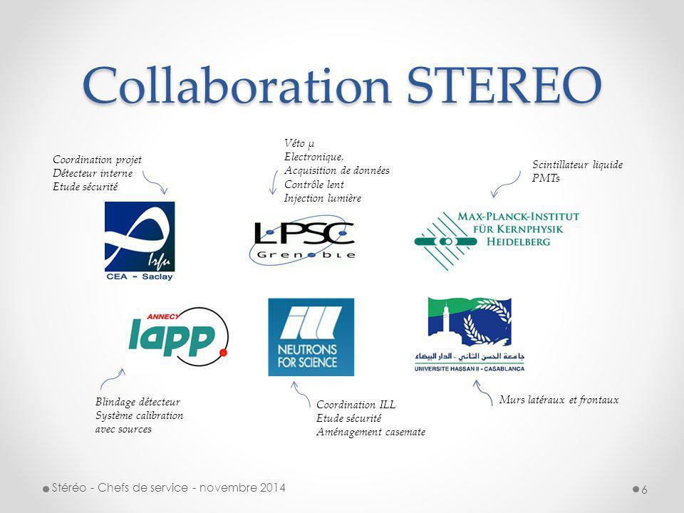 STEREO au LPSC Stéréo - Chefs de service - novembre 2014 7 Contributions techniques Véto muons SDI : C.BERNARD, M.