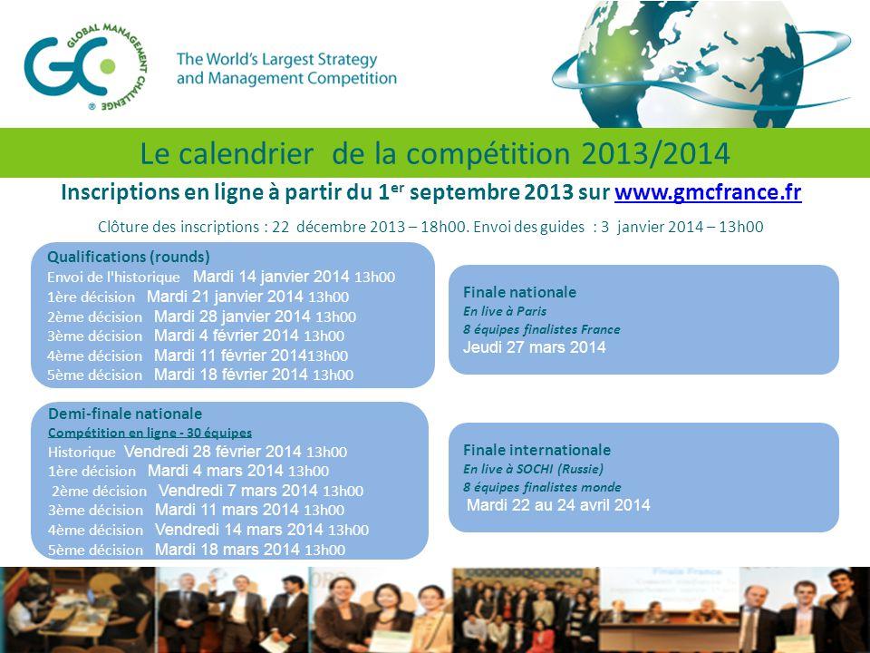 Inscriptions en ligne à partir du 1 er septembre 2013 sur www.gmcfrance.frwww.gmcfrance.fr Clôture des inscriptions : 22 décembre 2013 – 18h00.
