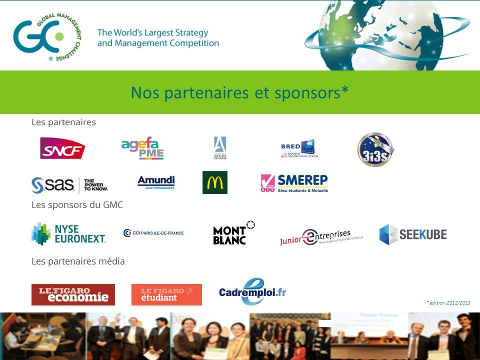 Nos partenaires et sponsors* *édition 2012/2013