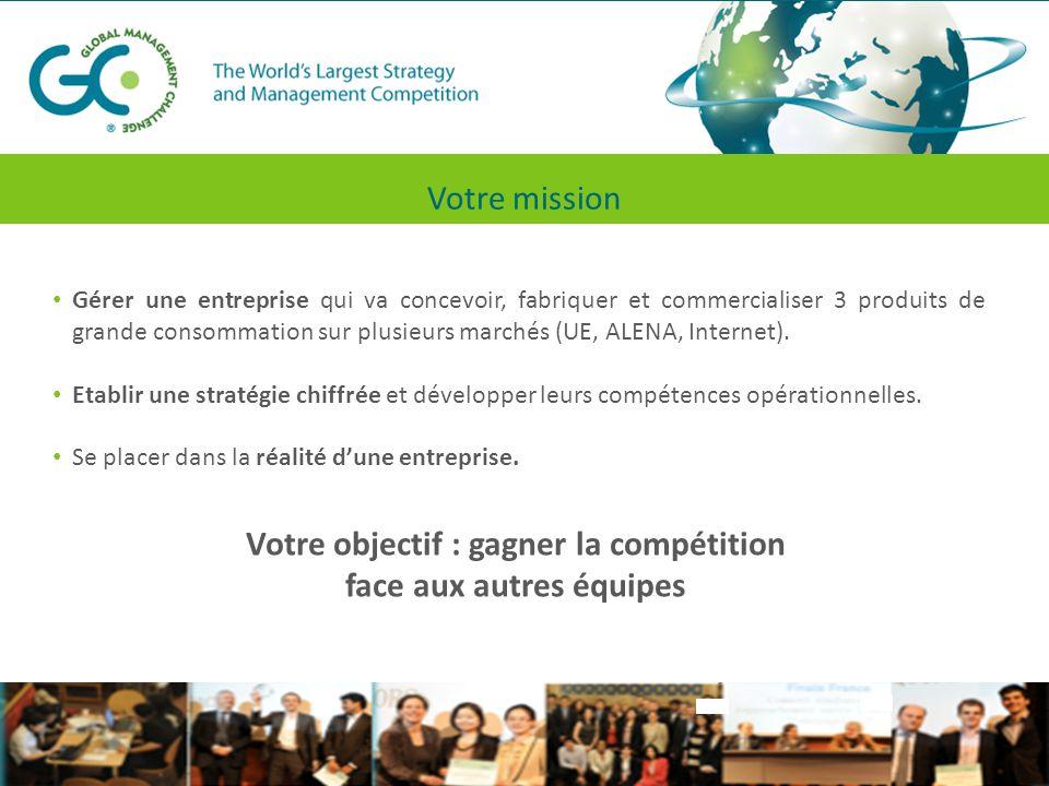 Une compétition globale A chaque étape les équipes gèrent de façon globale l'entreprise à travers 77 décisions dans les domaines suivants : MarketingProductionRHFinances