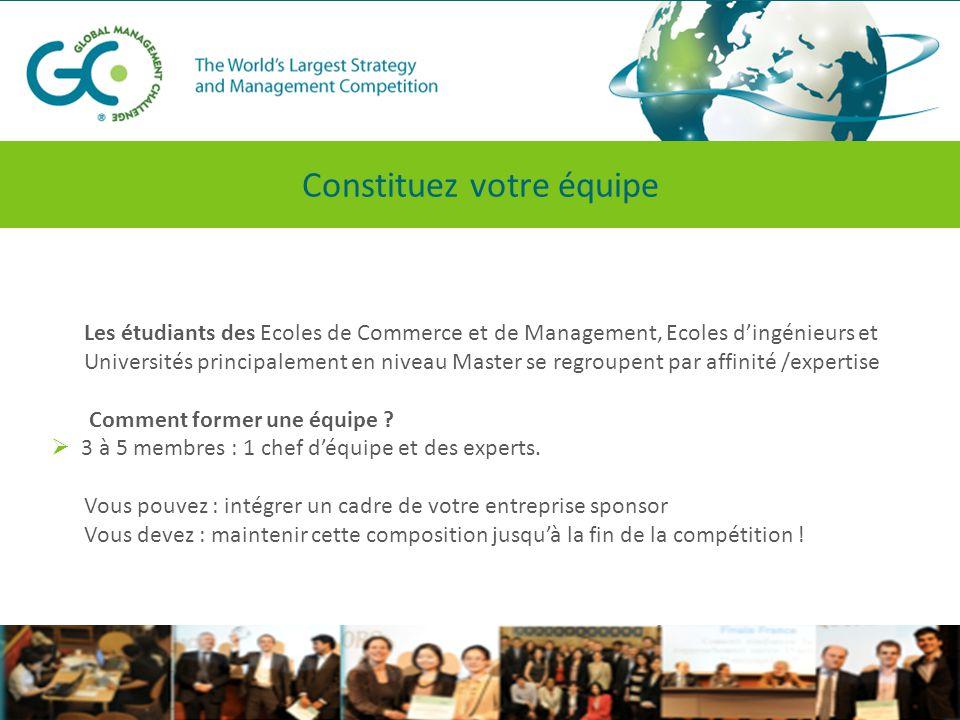 Les étudiants des Ecoles de Commerce et de Management, Ecoles d'ingénieurs et Universités principalement en niveau Master se regroupent par affinité /expertise Comment former une équipe .