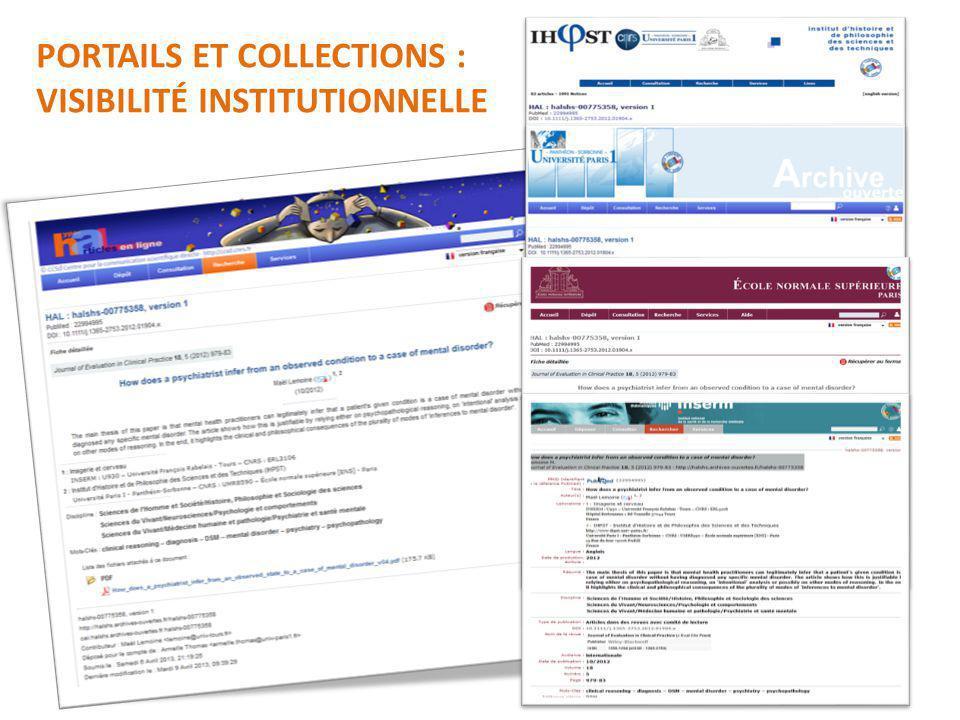 PORTAILS ET COLLECTIONS : VISIBILITÉ INSTITUTIONNELLE