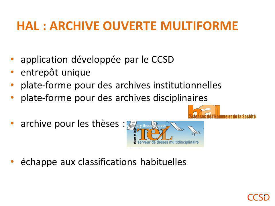 HAL : ARCHIVE OUVERTE MULTIFORME application développée par le CCSD entrepôt unique plate-forme pour des archives institutionnelles plate-forme pour des archives disciplinaires archive pour les thèses : échappe aux classifications habituelles