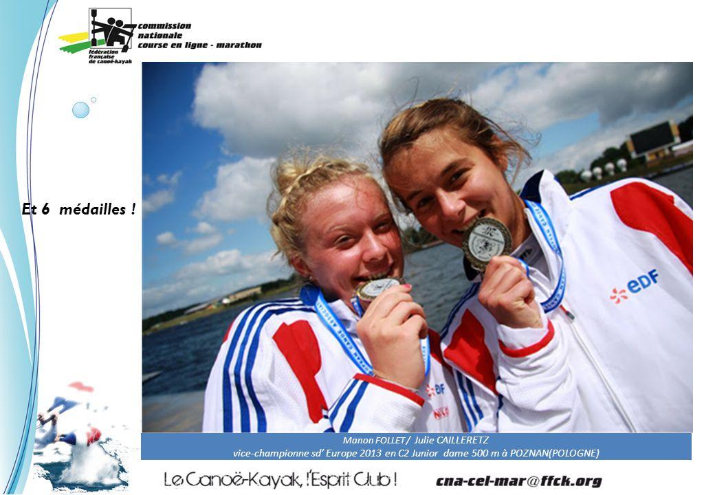 Manon FOLLET / Julie CAILLERETZ vice-championne sd' Europe 2013 en C2 Junior dame 500 m à POZNAN(POLOGNE) Et 6 médailles !