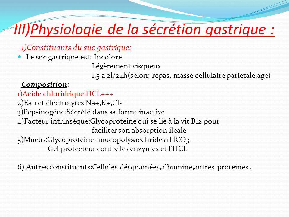 1)Constituants du suc gastrique: Le suc gastrique est: Incolore Légèrement visqueux 1,5 à 2l/24h(selon: repas, masse cellulaire parietale,age) Composi