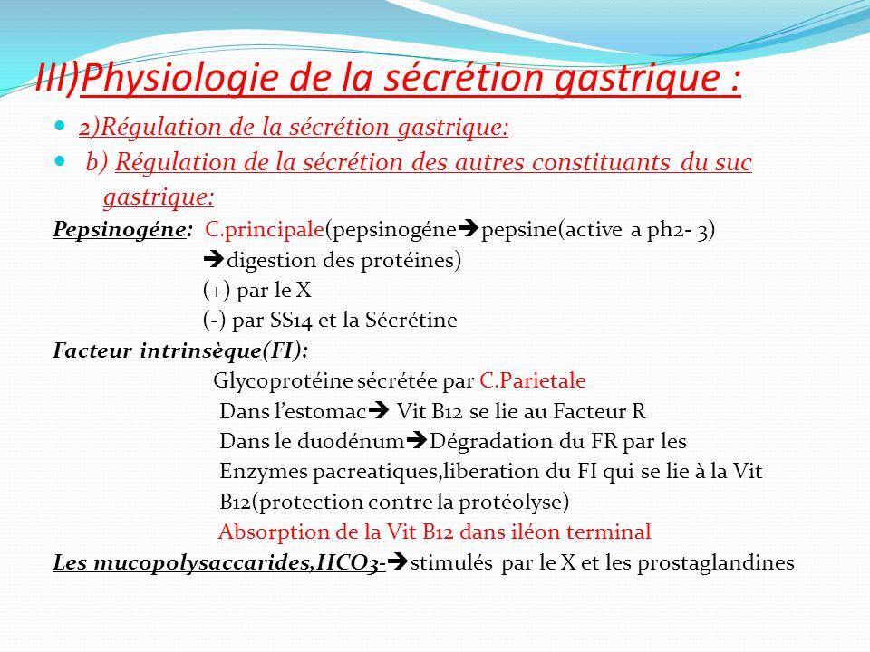 2)Régulation de la sécrétion gastrique: b) Régulation de la sécrétion des autres constituants du suc gastrique: Pepsinogéne: C.principale(pepsinogéne