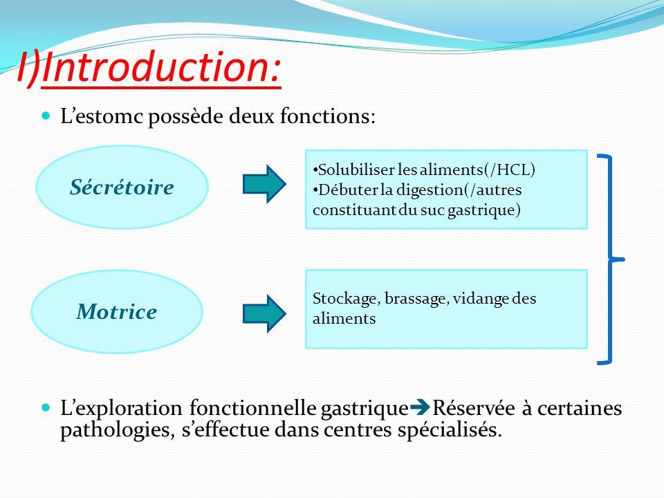 I)Introduction: L'estomc possède deux fonctions: L'exploration fonctionnelle gastrique  Réservée à certaines pathologies, s'effectue dans centres spé