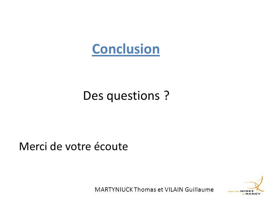 Conclusion Des questions ? Merci de votre écoute MARTYNIUCK Thomas et VILAIN Guillaume