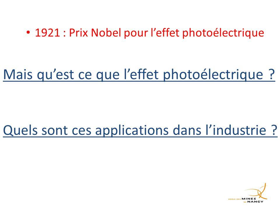1921 : Prix Nobel pour l'effet photoélectrique Mais qu'est ce que l'effet photoélectrique .