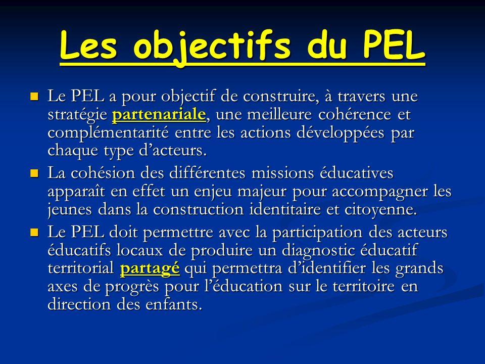 Les objectifs du PEL Le PEL a pour objectif de construire, à travers une stratégie partenariale, une meilleure cohérence et complémentarité entre les actions développées par chaque type d'acteurs.