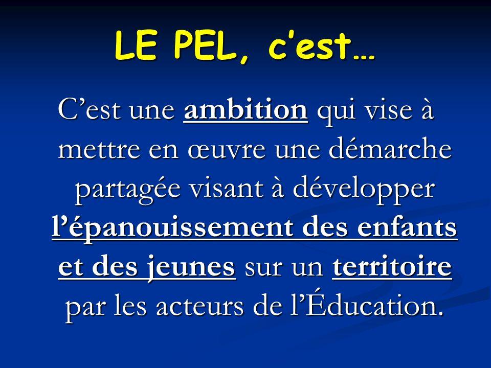 LE PEL, c'est… C'est une ambition qui vise à mettre en œuvre une démarche partagée visant à développer l'épanouissement des enfants et des jeunes sur un territoire par les acteurs de l'Éducation.