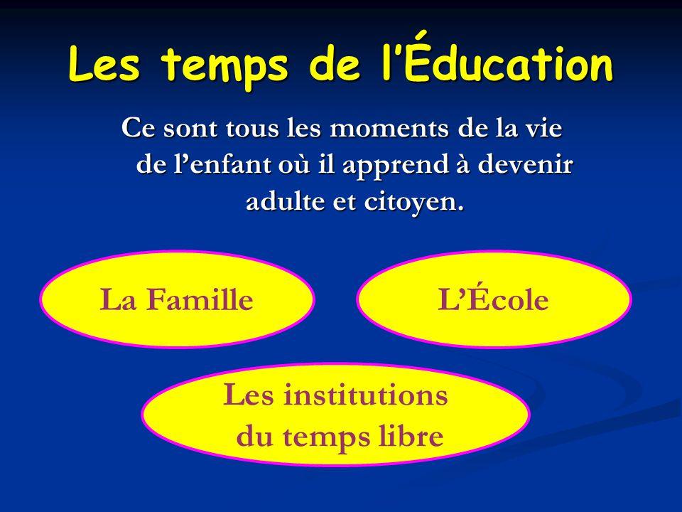 Les temps de l'Éducation Ce sont tous les moments de la vie de l'enfant où il apprend à devenir adulte et citoyen.