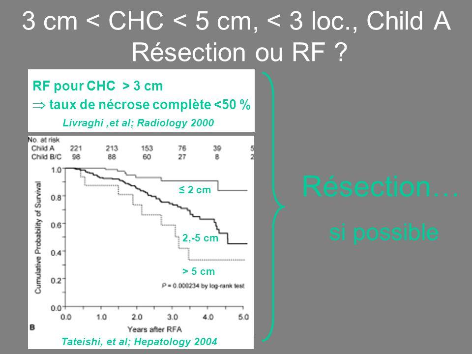 3 cm < CHC < 5 cm, < 3 loc., Child A Résection ou RF .