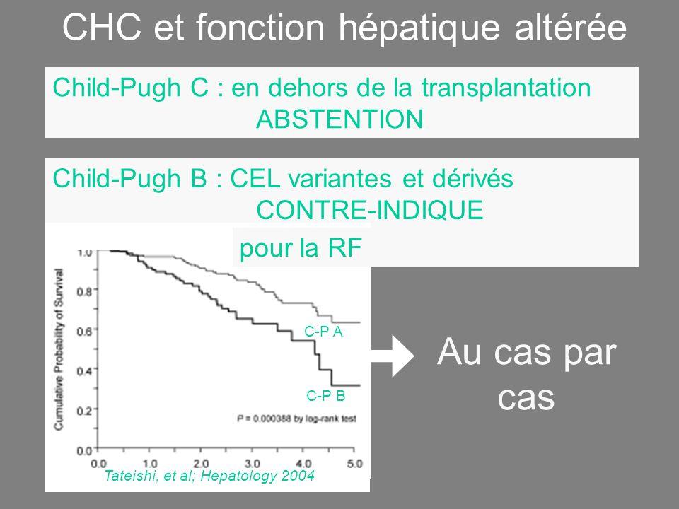 CHC et fonction hépatique altérée Child-Pugh C : en dehors de la transplantation ABSTENTION Child-Pugh B : CEL variantes et dérivés CONTRE-INDIQUE pour la RF Tateishi, et al; Hepatology 2004 C-P A C-P B Au cas par cas