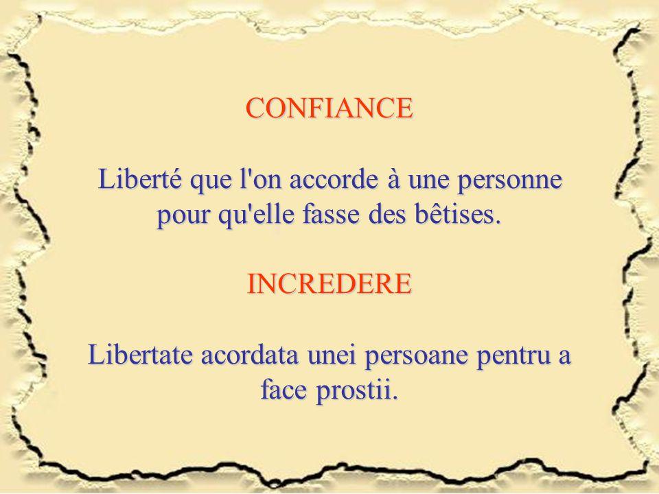 CONFIANCE Liberté que l'on accorde à une personne pour qu'elle fasse des bêtises. INCREDERE Libertate acordata unei persoane pentru a face prostii.