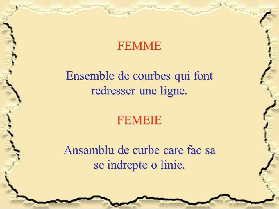 FEMME Ensemble de courbes qui font redresser une ligne. FEMEIE Ansamblu de curbe care fac sa se indrepte o linie.
