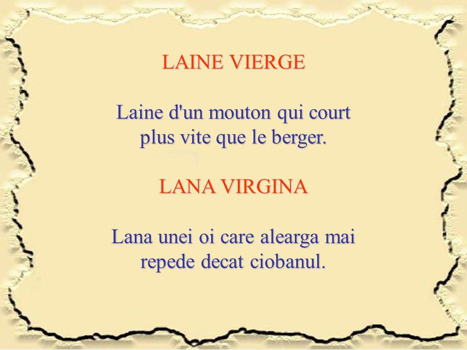 LAINE VIERGE Laine d'un mouton qui court plus vite que le berger. LANA VIRGINA Lana unei oi care alearga mai repede decat ciobanul.