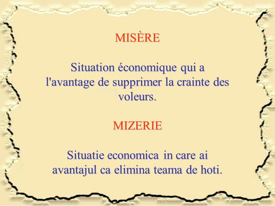MISÈRE Situation économique qui a l'avantage de supprimer la crainte des voleurs. MIZERIE Situatie economica in care ai avantajul ca elimina teama de
