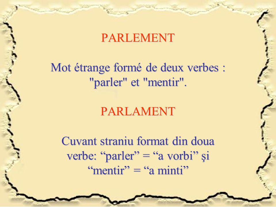 PARLEMENT Mot étrange formé de deux verbes :