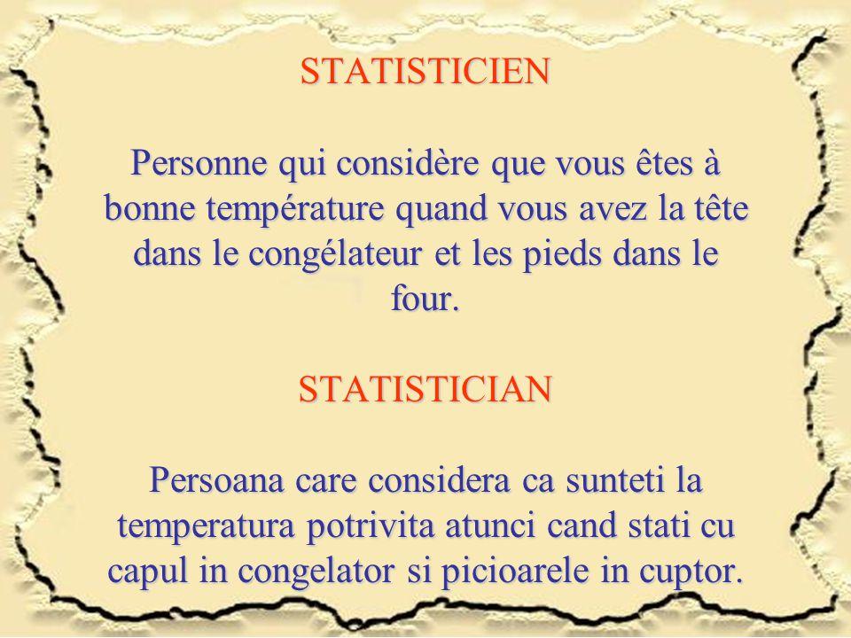 STATISTICIEN Personne qui considère que vous êtes à bonne température quand vous avez la tête dans le congélateur et les pieds dans le four. STATISTIC