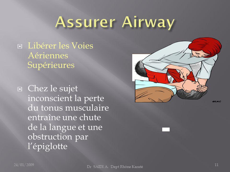  Libérer les Voies Aériennes Supérieures  Chez le sujet inconscient la perte du tonus musculaire entraîne une chute de la langue et une obstruction par l'épiglotte Dr SAIDI A.