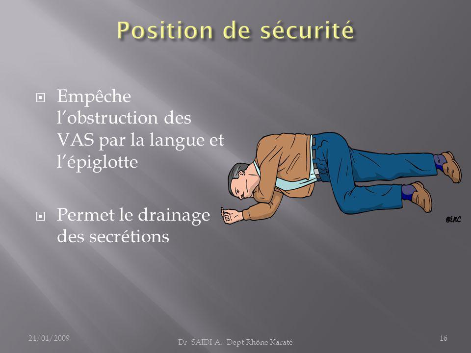 Empêche l'obstruction des VAS par la langue et l'épiglotte  Permet le drainage des secrétions Dr SAIDI A. Dept Rhône Karaté 24/01/200916