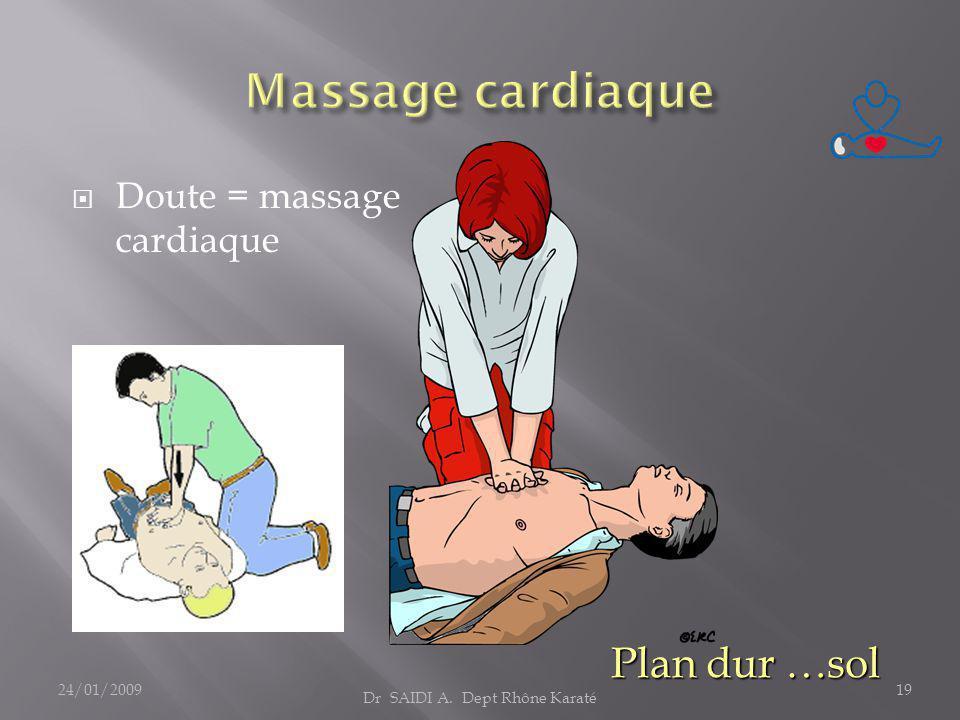  Doute = massage cardiaque Plan dur …sol Dr SAIDI A. Dept Rhône Karaté 24/01/200919