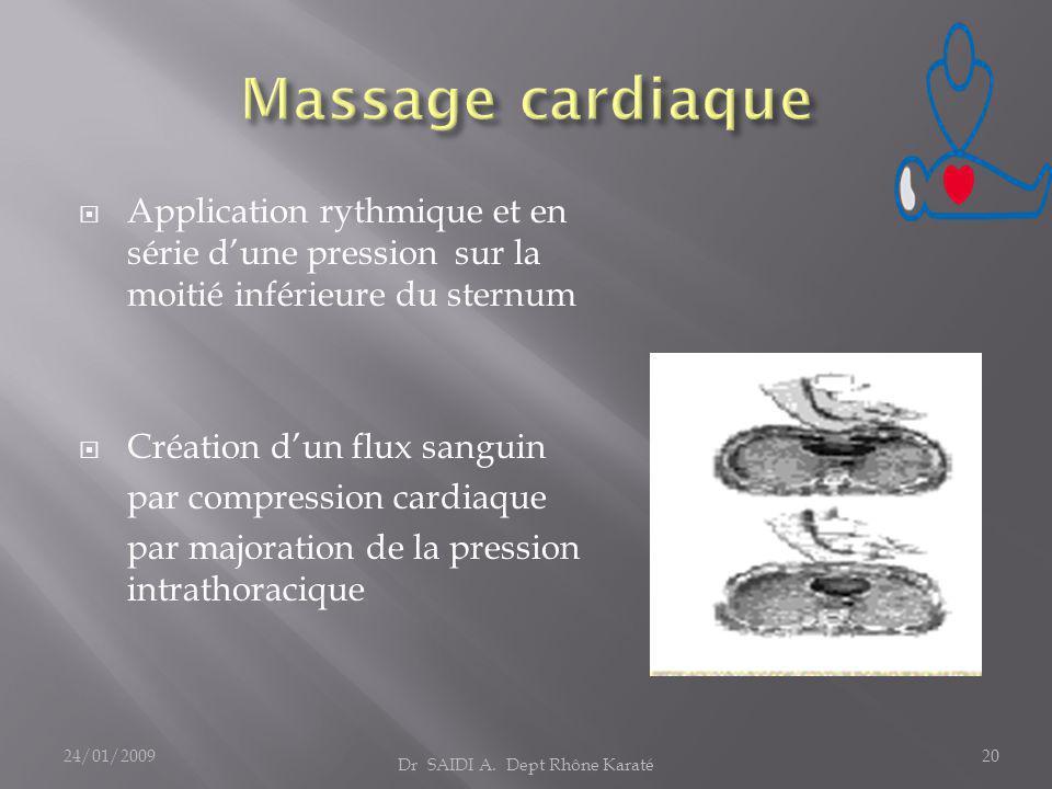  Application rythmique et en série d'une pression sur la moitié inférieure du sternum  Création d'un flux sanguin par compression cardiaque par majoration de la pression intrathoracique Dr SAIDI A.