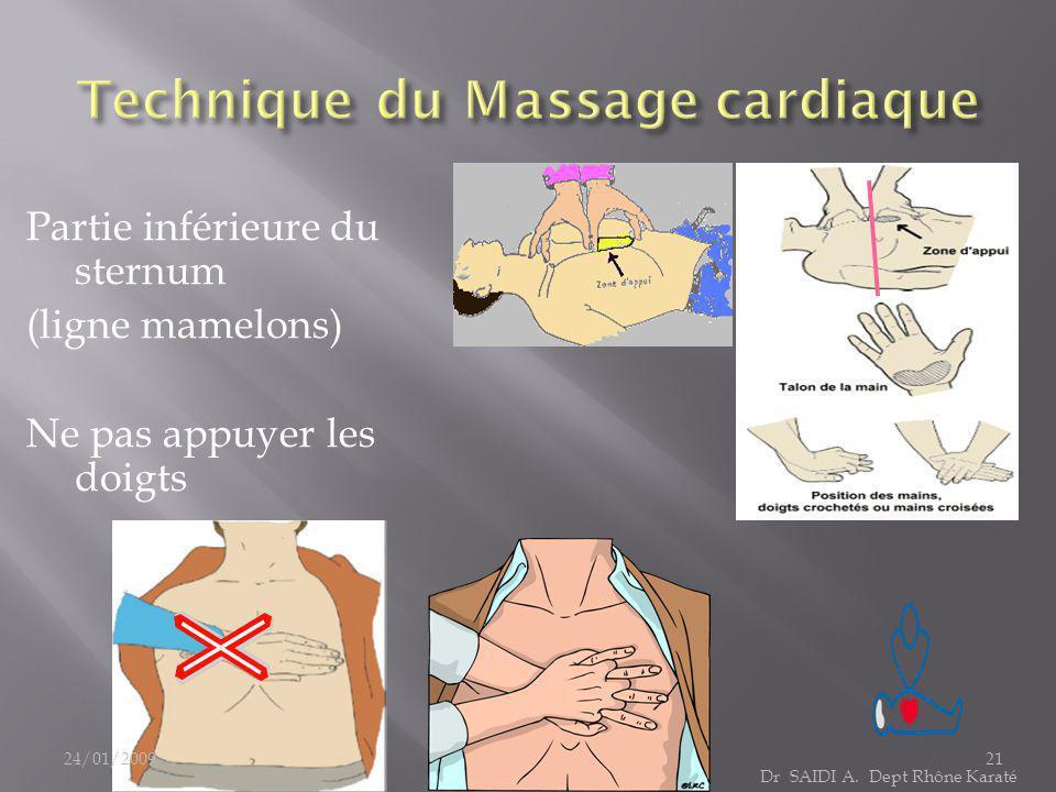 Partie inférieure du sternum (ligne mamelons) Ne pas appuyer les doigts Dr SAIDI A. Dept Rhône Karaté 24/01/200921