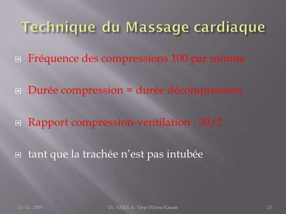  Fréquence des compressions 100 par minute  Durée compression = durée décompression  Rapport compression-ventilation : 30/2  tant que la trachée n'est pas intubée Dr SAIDI A.