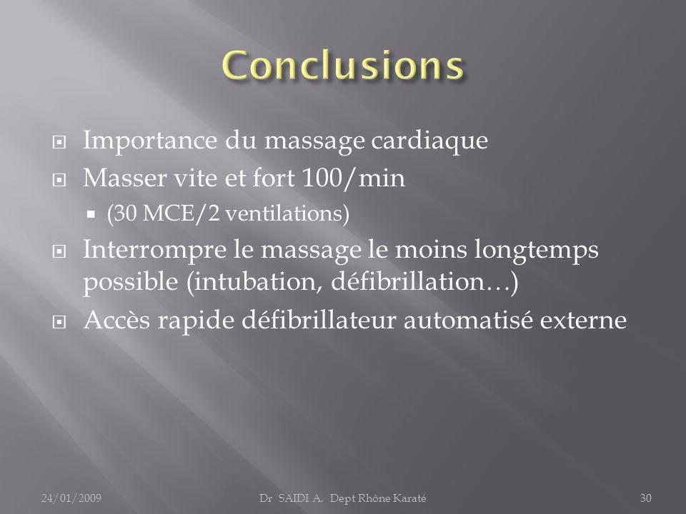  Importance du massage cardiaque  Masser vite et fort 100/min  (30 MCE/2 ventilations)  Interrompre le massage le moins longtemps possible (intubation, défibrillation…)  Accès rapide défibrillateur automatisé externe Dr SAIDI A.