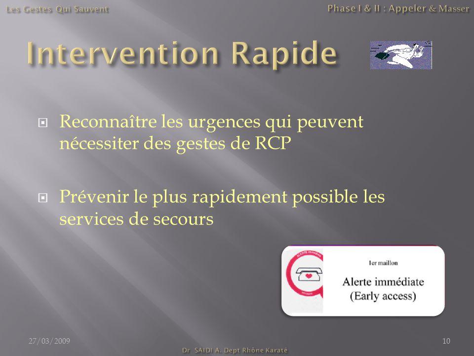  Reconnaître les urgences qui peuvent nécessiter des gestes de RCP  Prévenir le plus rapidement possible les services de secours 27/03/200910