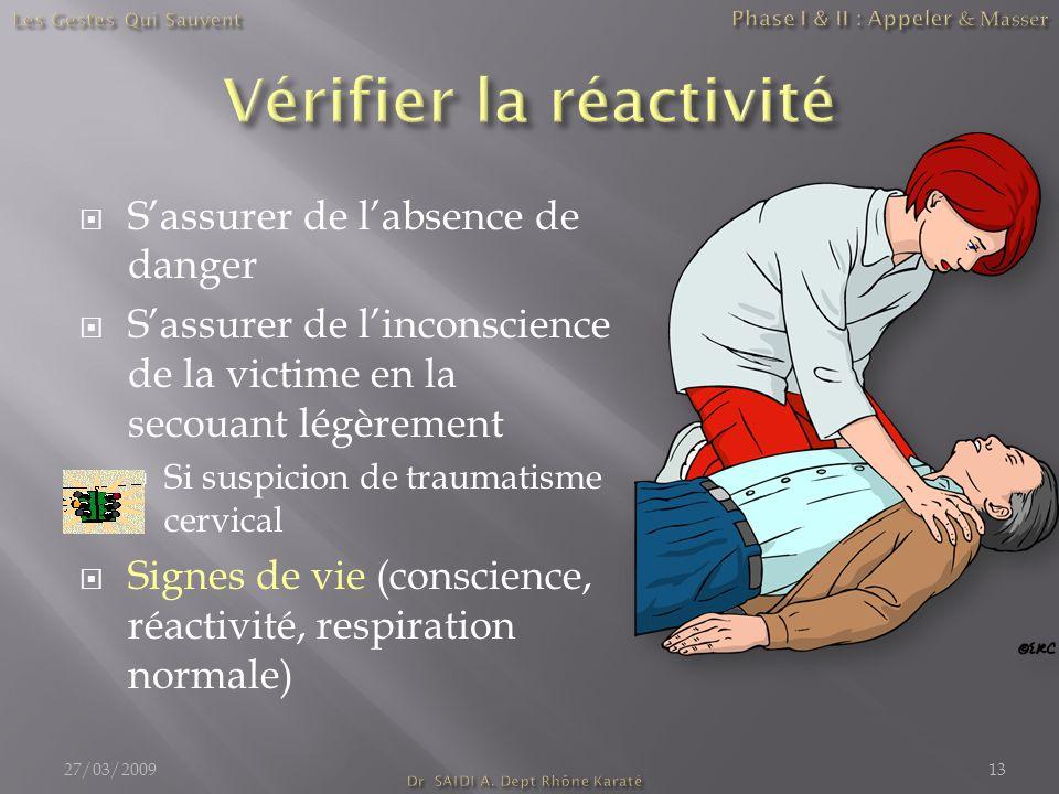  S'assurer de l'absence de danger  S'assurer de l'inconscience de la victime en la secouant légèrement  Si suspicion de traumatisme cervical  Sign