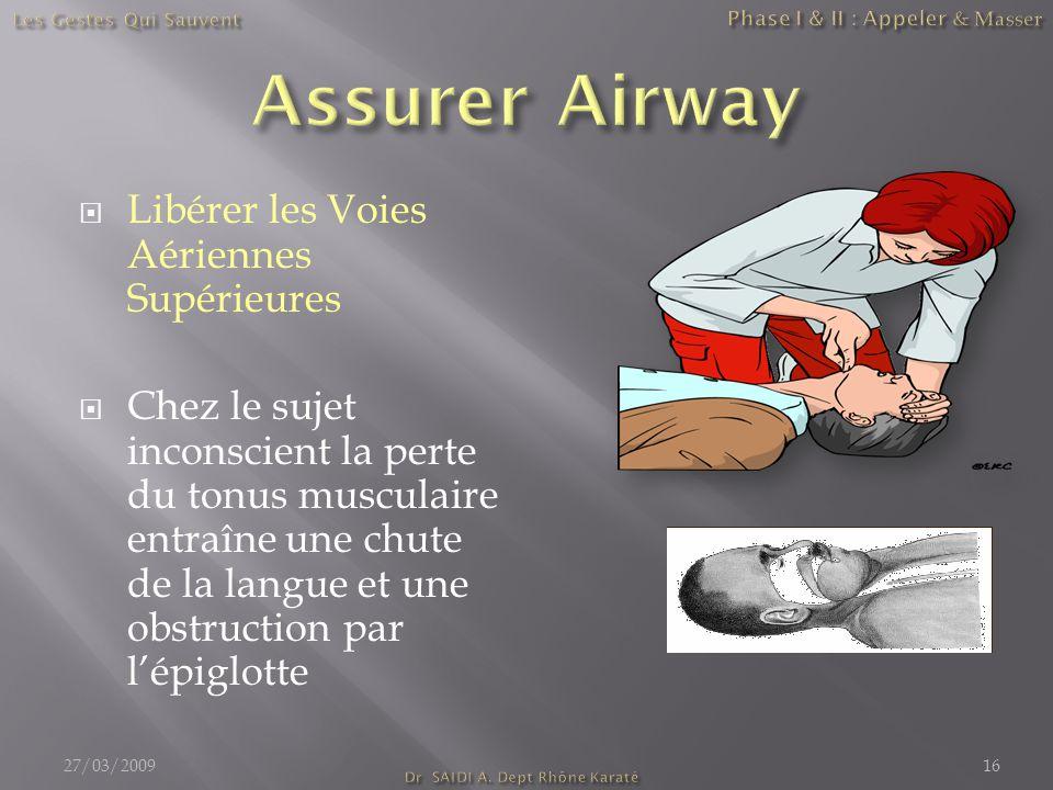  Libérer les Voies Aériennes Supérieures  Chez le sujet inconscient la perte du tonus musculaire entraîne une chute de la langue et une obstruction