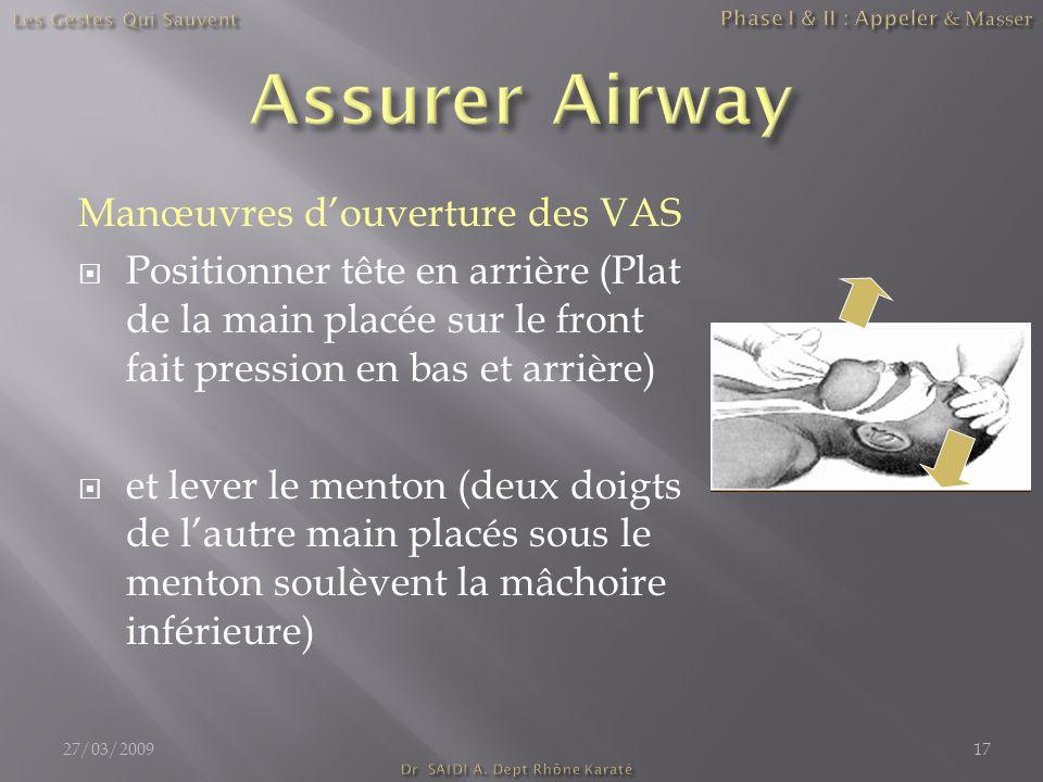 Manœuvres d'ouverture des VAS  Positionner tête en arrière (Plat de la main placée sur le front fait pression en bas et arrière)  et lever le menton